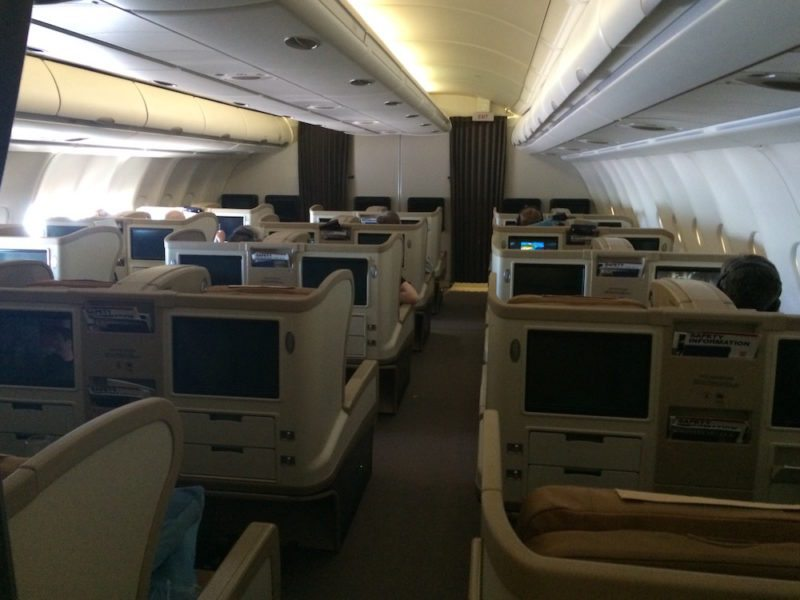 Business Class Cabin on Singapore Airlines Adelaide to Beijing via Singapore