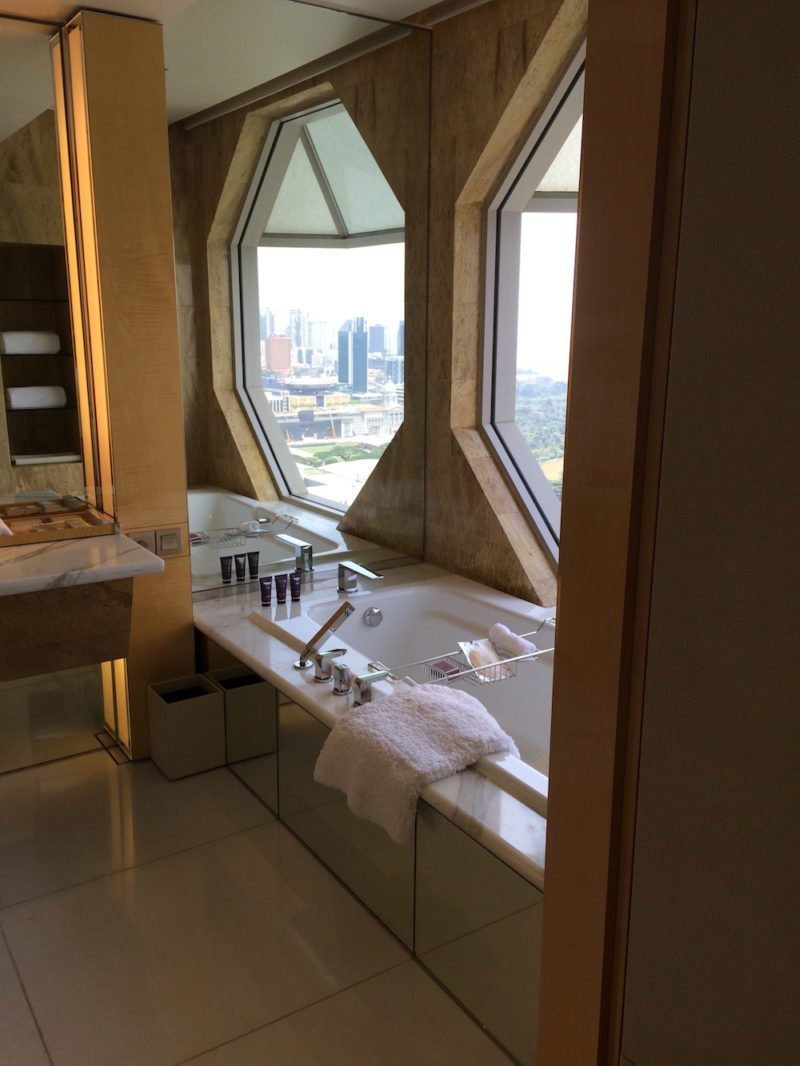 Bathroom of the Club Premier Suite with a Marina Bay view, Corner room at The Ritz-Carlton, Millenia Singapore