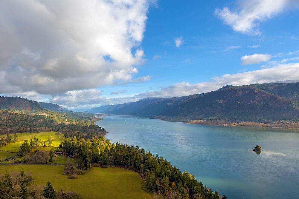 Columbia River Gorge from Cape Horn viewpoint in Washington State on a cloudy blue sky day