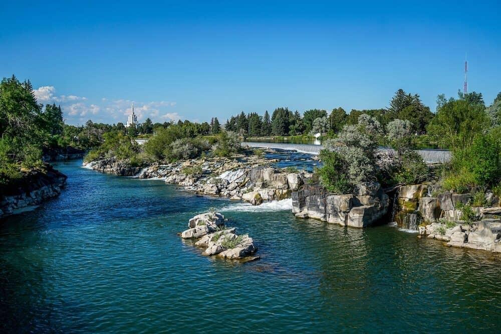 The beautiful Snake River running through Idaho Falls in Southeast Idaho.