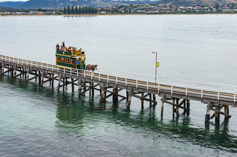 Victor Harbor, Australia - : Horse Drawn Tram on the way to Granite island