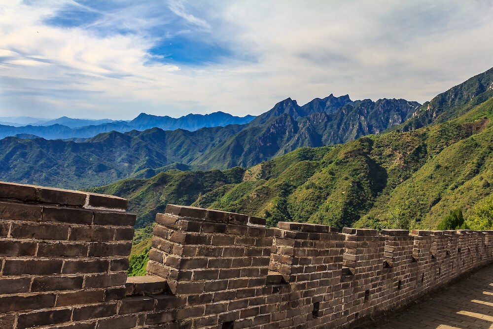 Fragment of the Great Wall of China, in the Mutianyu village, one of remote parts of the Great Wall near Beijing