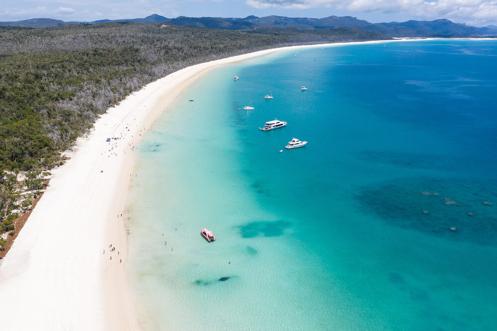 Aerial view of Whitehaven beach in the Whitsunday Islands in Queensland Australia. Whitehaven beach is one of the best beaches in Australia.