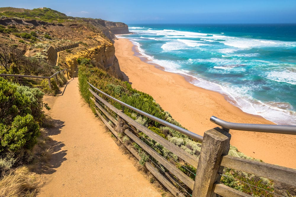Top view of Gibson Steps beach in Port Campbell National Park on the Great Ocean Road, Victoria state, Australia.