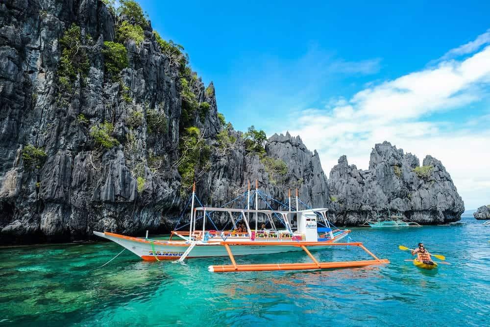 Palawan, Philippines - Blue sea of Palawan Island, Philippines. Palawan is the island of wonderful scenery and idyllic tropical beauty.