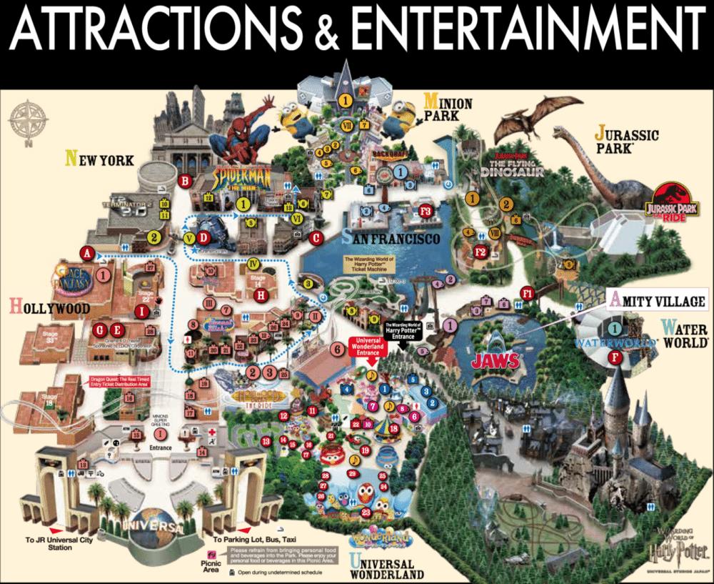 Universal Studio Japan Map
