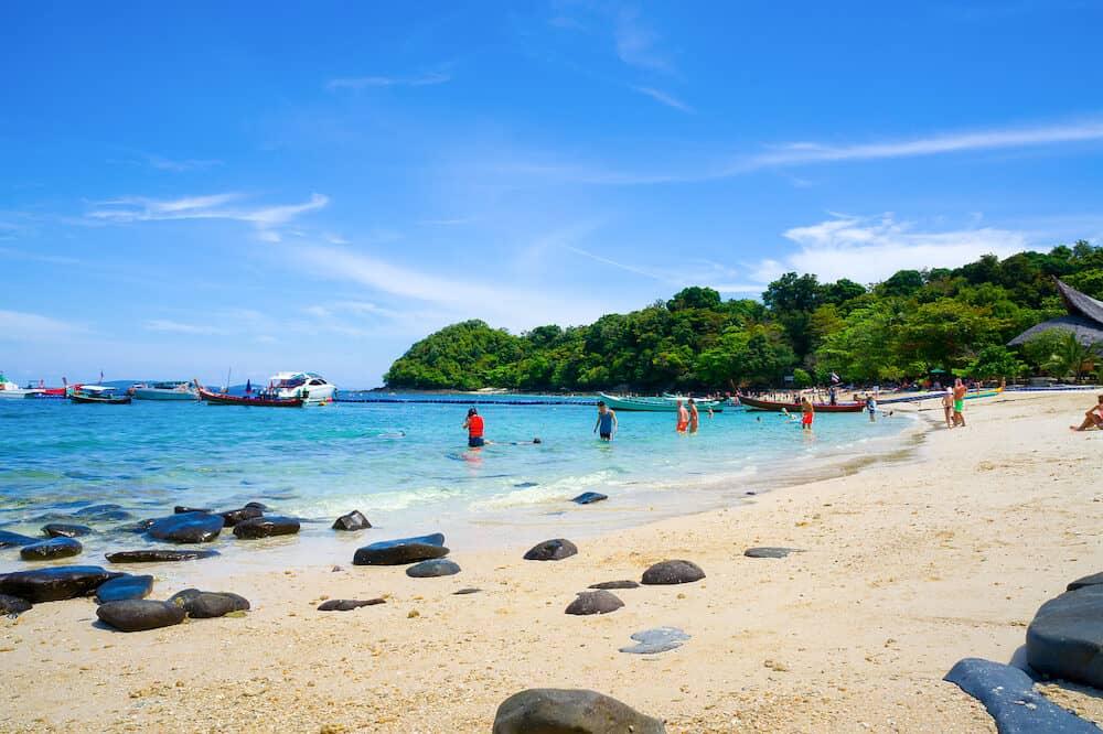 Banana beach on Coral (Ko He) island on a sunny day, Phuket, Thailand