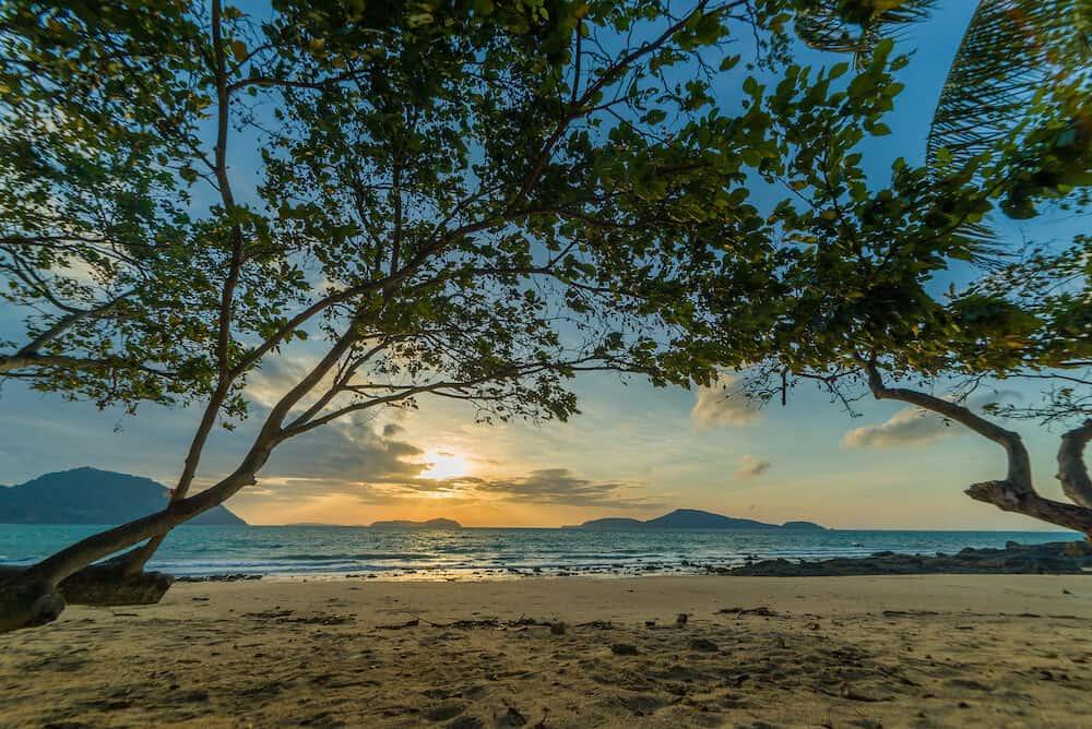 Laem Ka beach in Phuket Thailand at sunrise