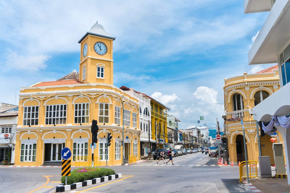 PHUKET, THAILAND -Phuket town, Thailand: Phuket old town with old buildings in Sino Portuguese style restoration is a very famous tourist destination of Phuket.
