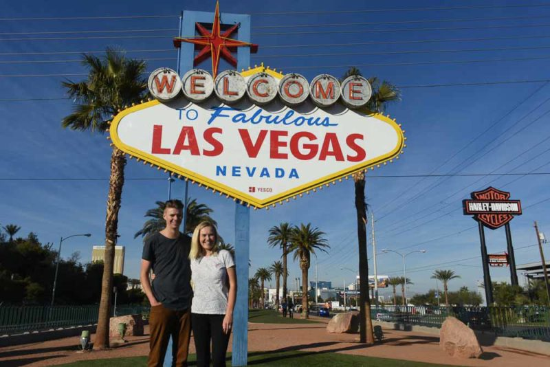 Luke and Kynie at the LV sign