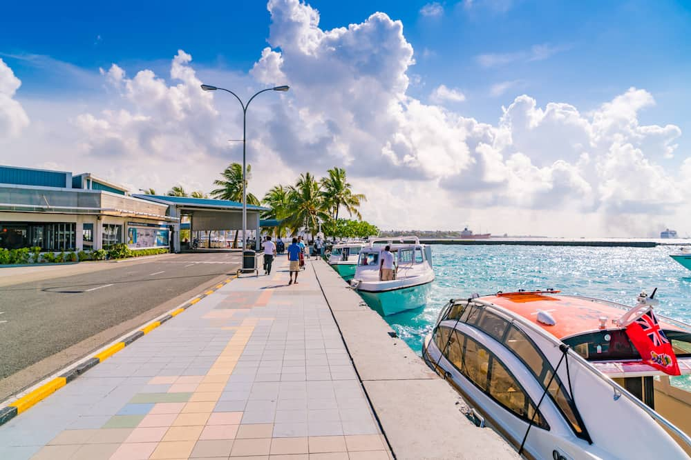MALE, MALDIVES - : Boats at the harbor next to Ibrahim Nasir International Airport in Male, Maldives.