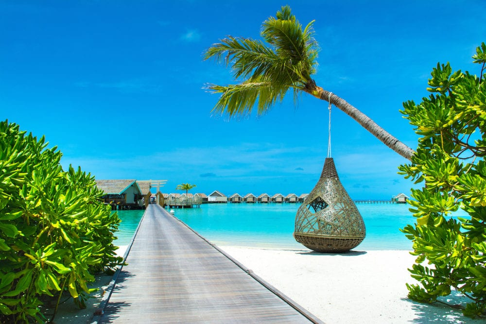 Dhidhoofinolhu, Maldives - : Chill lounge zone and restaurant in the crystal water of the Indian Ocean, Maldives,