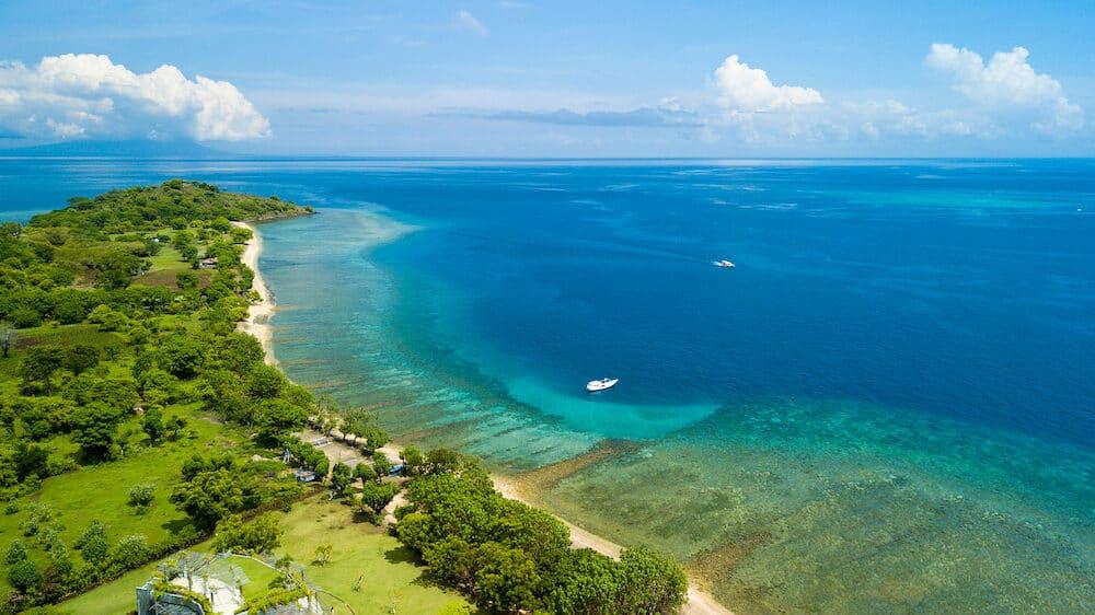 Aerial view of north Bali coastline at Pemuteran, Indonesia