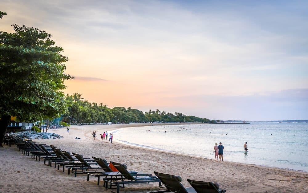 BALI, INDONESIA - Paradise beach on Bali island Nusa Dua in Indonesia
