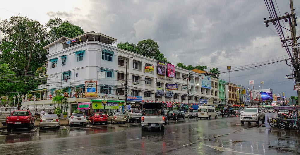 Krabi, Thailand -Cityscape of downtown in Krabi, Thailand. Krabi is the main town in the province on west coast of southern Thailand.