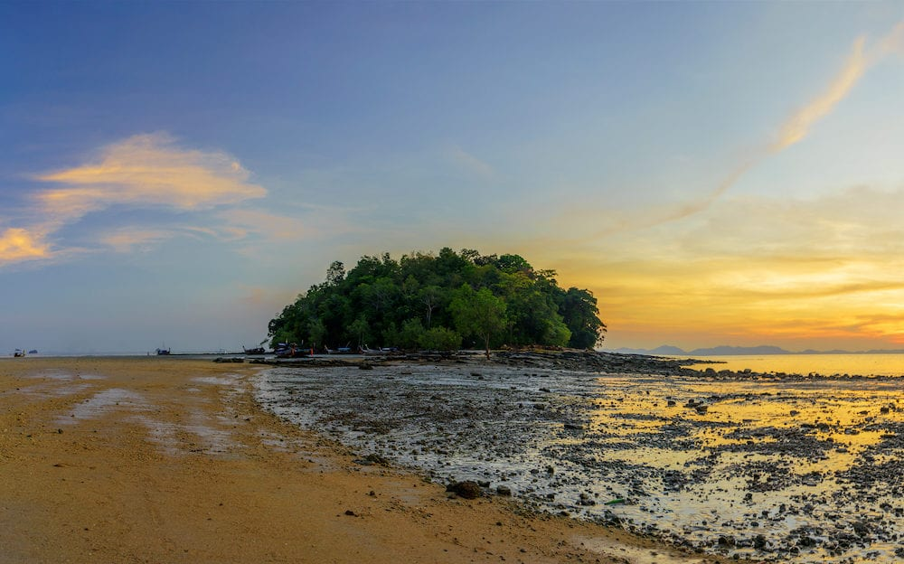 Klong Muang beach on sunset Krabi province