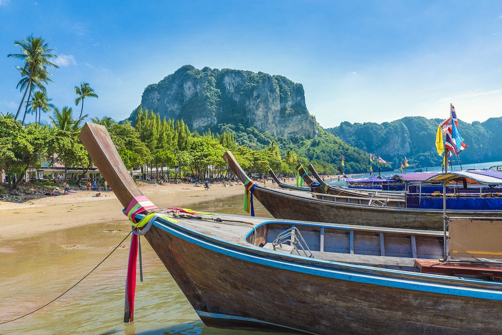 Long tail boats of Ao Nang beach in Krabi region, Thailand
