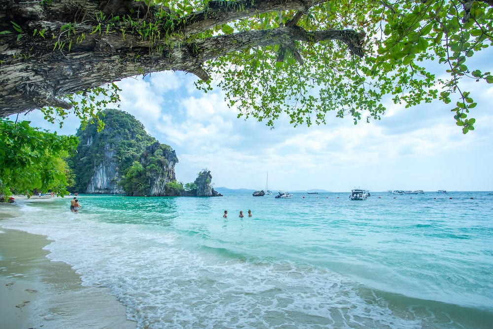 KRABI THAILANDMany people swimming and relaxing at Hong Island in Krabi Province Thailand. Phi Phi is part of Mu Ko Phi Phi National Park