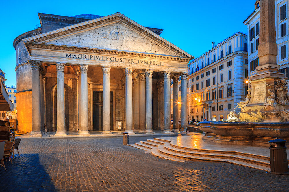 Pantheon in the morning, Rome, Italy, Europe. Rome ancient temple of all the gods. Rome Pantheon is one of the best known landmarks of Rome and Italy