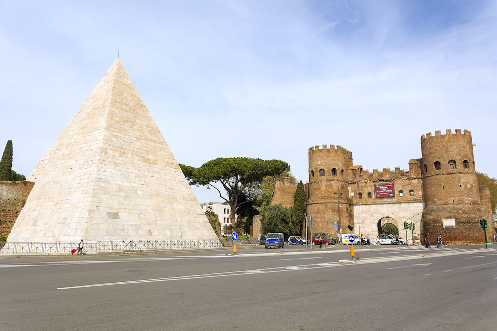 Rome Italy Pyramid of Caius Cestius and San Paolo Gate in Rome Italy