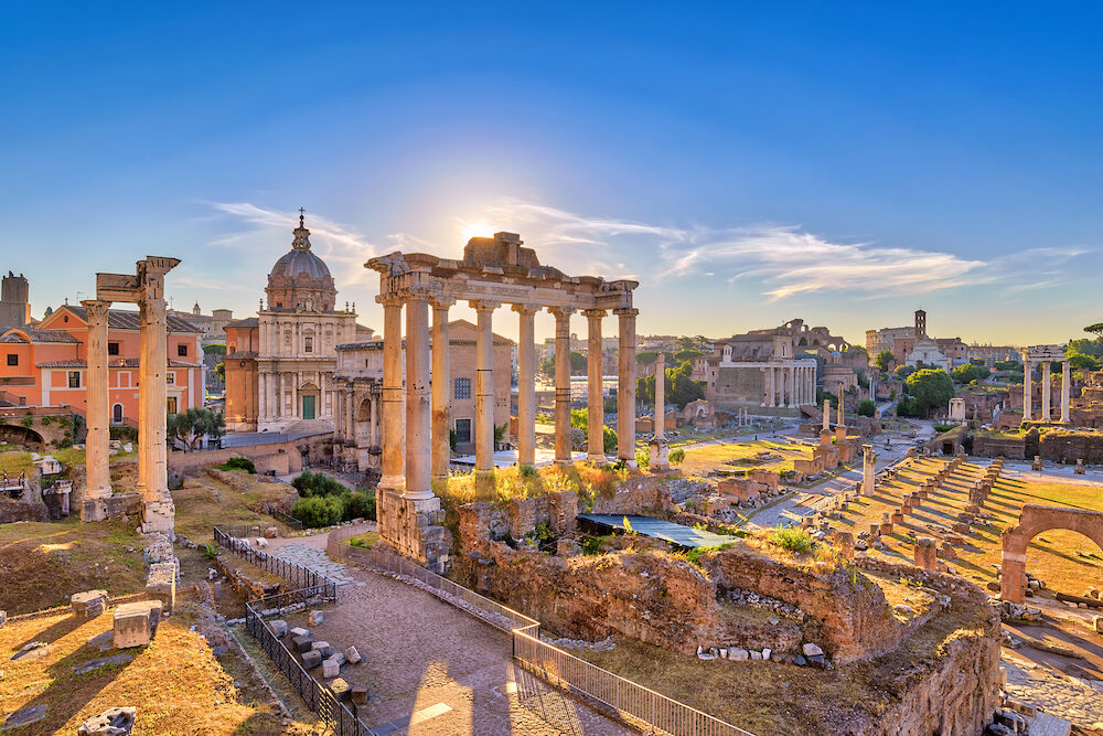 Rome sunrise city skyline at Rome Forum (Roman Forum) Rome Italy