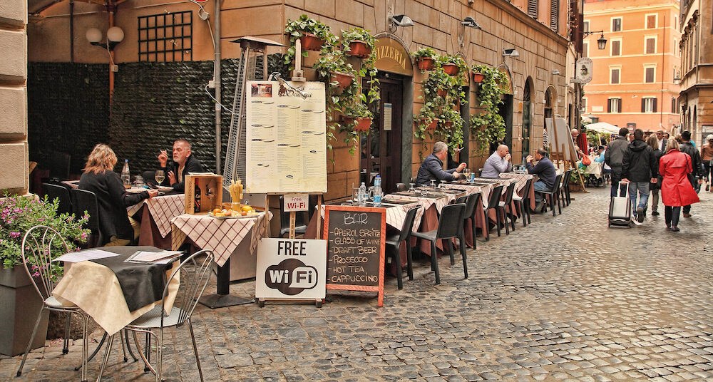 Rome, Italy - : Typical Italian restaurant in the historic center of Rome.
