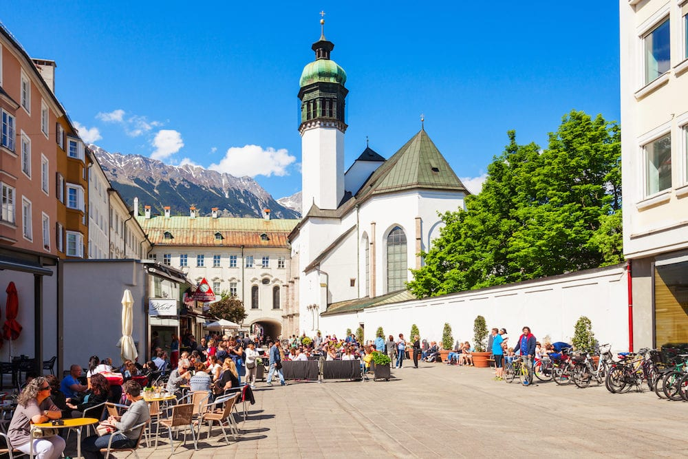 INNSBRUCK, AUSTRIA - The Innsbruck Hofkirche or Court Church is a Gothic church located in the Altstadt Old Town in Innsbruck, Austria