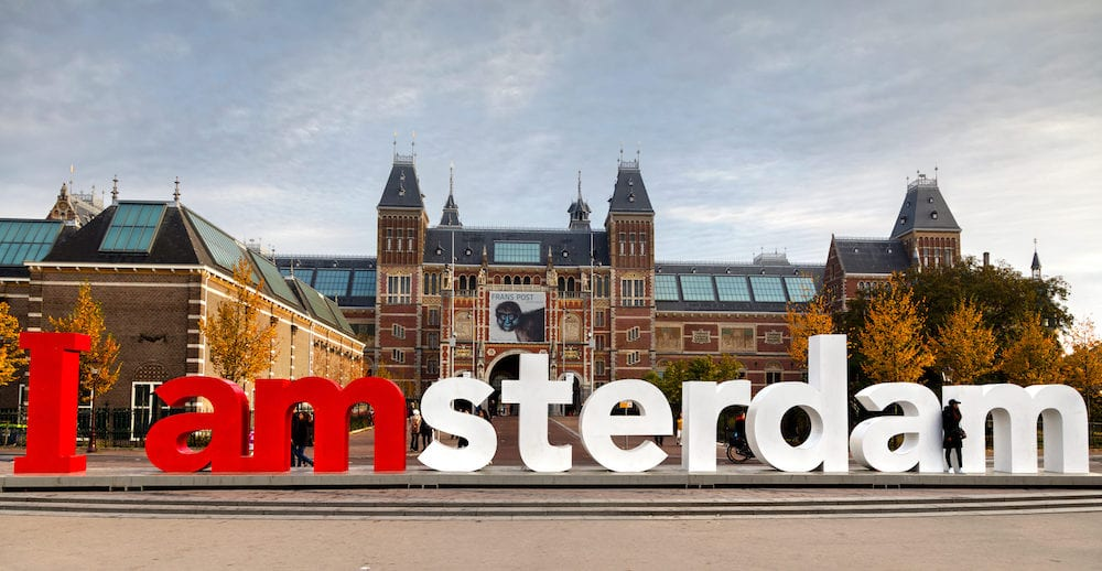 AMSTERDAM - I Amsterdam slogan in Amsterdam Netherlands. Located at the back of the Rijksmuseum on Museumplein the slogan quickly became a city icon.