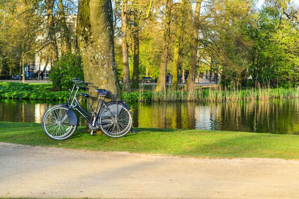 Bikes on Vondelpark in spring, Amsterdam, Netherlands