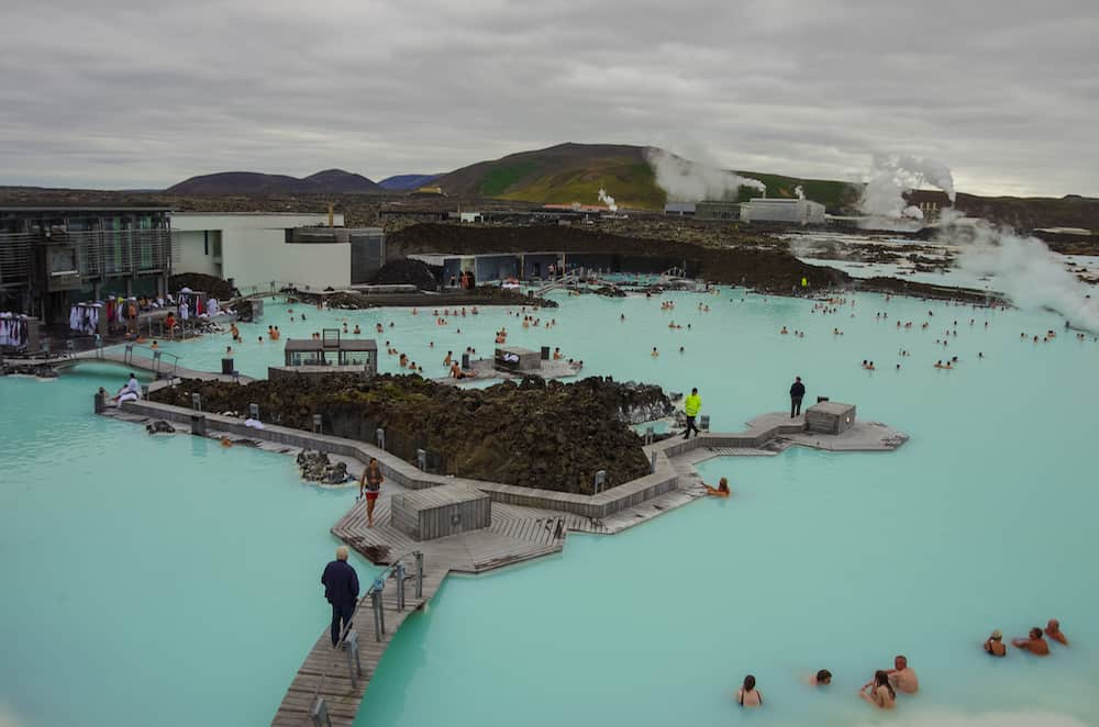 Blue Lagoon, Iceland- People bathing in The Blue Lagoon a geothermal bath resort in the south of Iceland a 'must see' by tourists.
