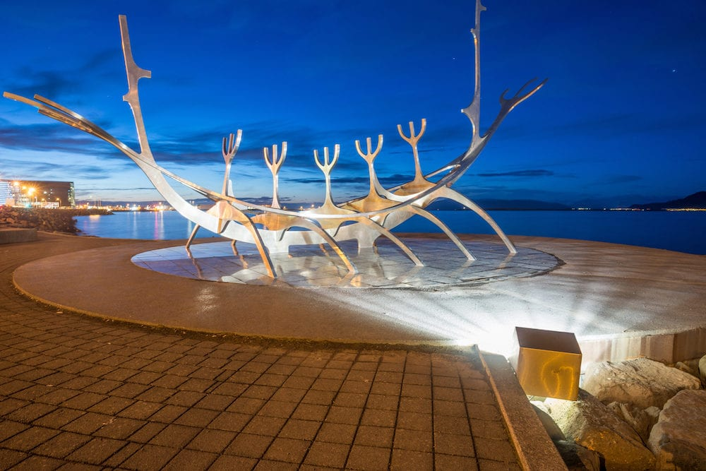 Reykjavik, Iceland - The Sun voyager one of the Icelandic famous sculpture in Reykjavik the capital city of Iceland at night.