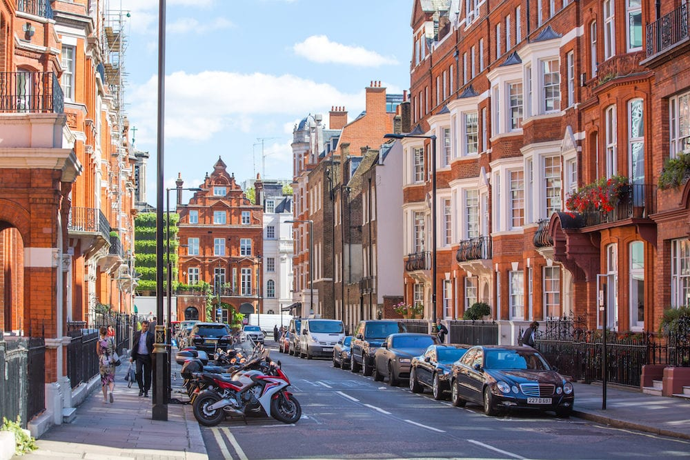 London, UK - : Residential aria of Mayfair with row of periodic buildings. Luxury property in the centre of London.