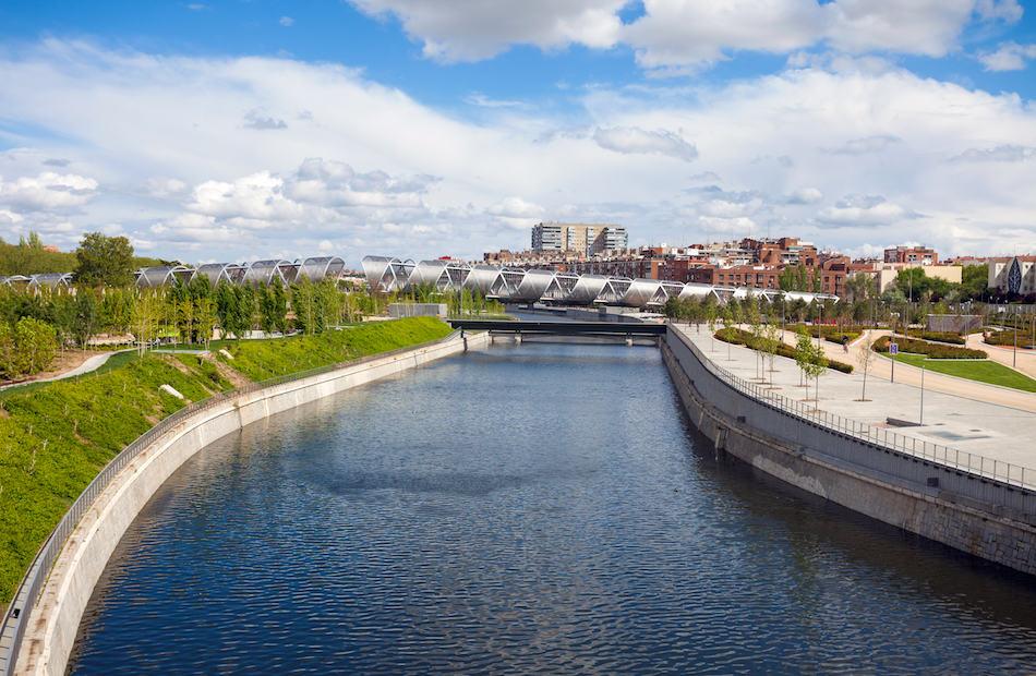 Arganzuela Bridge and Madrid Rio Park Madrid Spain