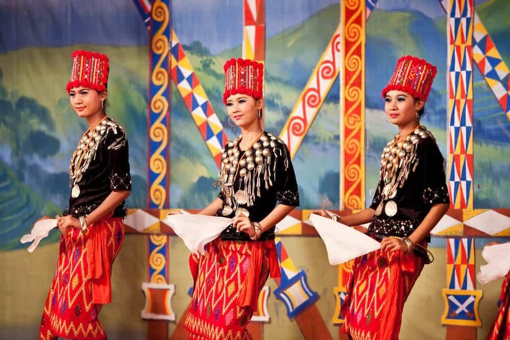 YANGON MYANMAR - Dancers perform traditional classical Kachin dance in honor of Karen New Year in Yangon Myanmar