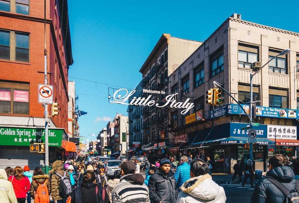 New York City USA - Welcome to Little Italy sign in Lower Manhattan. Little Italy is an Italian famous community in Manhattan