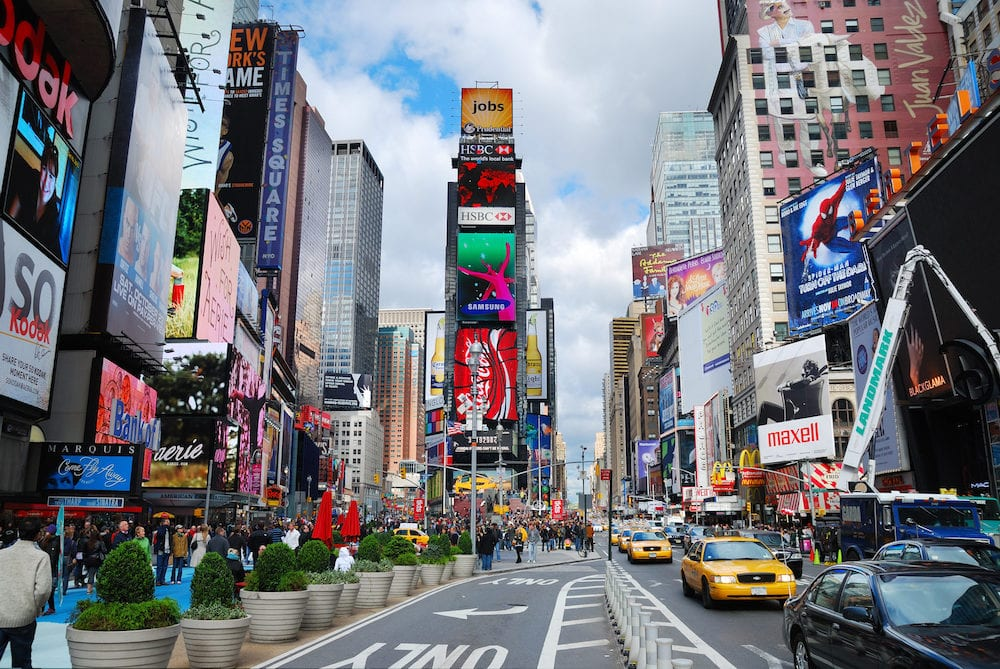 NEW YORK CITY, NY - Times Square is featured with Broadway Theaters and LED signs as a symbol of New York City and the United States, in Manhattan, New York City.