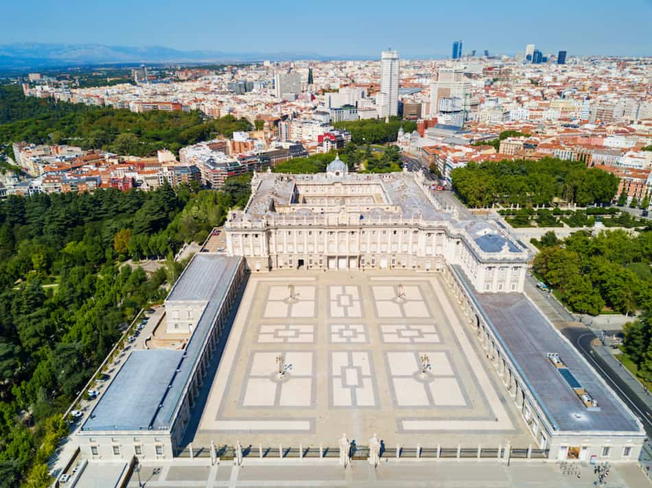 The Royal Palace of Madrid aerial panoramic view. Palacio Real de Madrid is the official residence of the Spanish Royal Family in Madrid, Spain