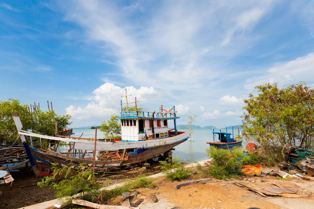Summer seascape on tropical koh Lanta island in Thailand. Landscape taken in Old Town.