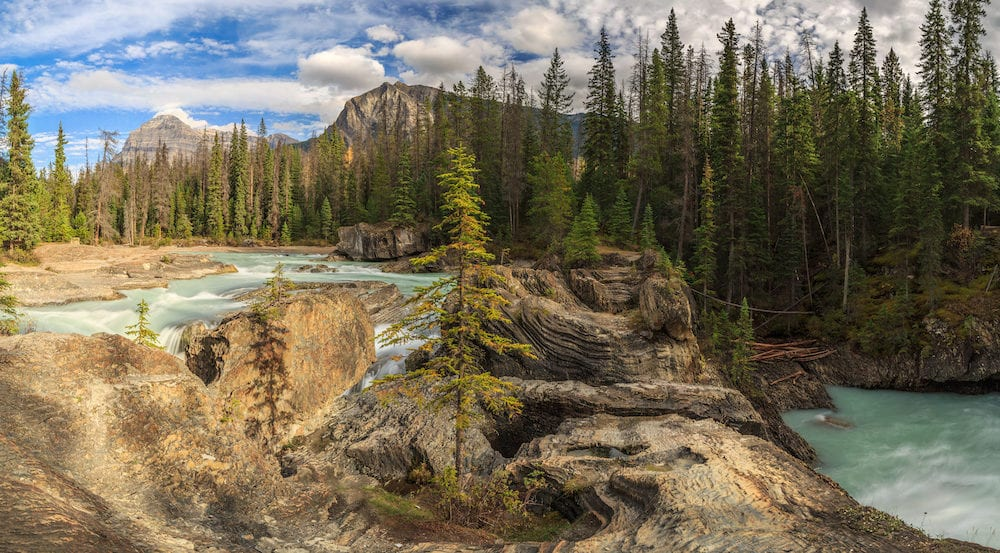 Natural Bridge with Mount Stephen, Yoho National Park, BC, Canada