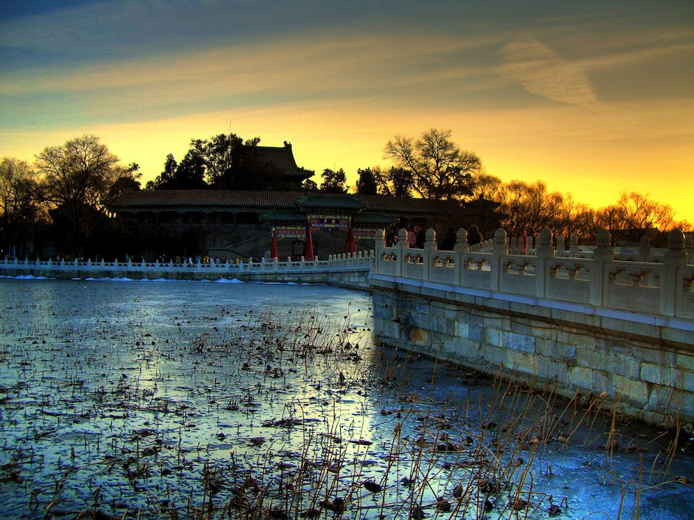 Beihei Park / Houhai Lake in Beijing at Sunset