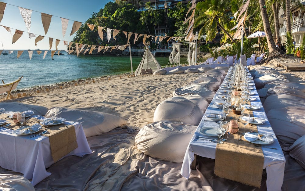 decorated wedding tables on Diniwid Beach at Boracay island Philippines