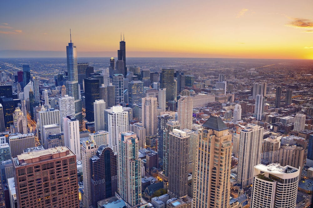 Aerial view of Chicago downtown at twilight from high above.