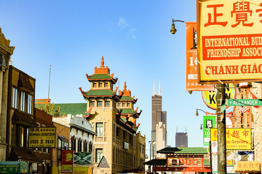 CHICAGO IL USA - A view of the Chinatown district with the Willis Tower in the distance.