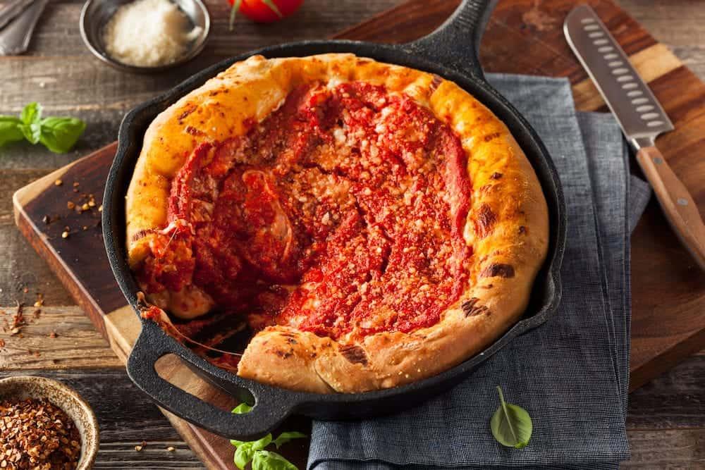 Homemade Skillet Deep Dish Chicago Pizza with Mozzarella