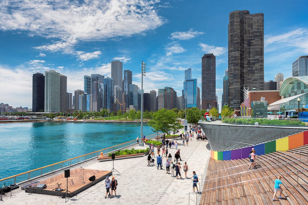 Navy Pier and Chicago skyline in Chicago, Illinois. The Navy Pier - Chicagos number one tourist attraction.