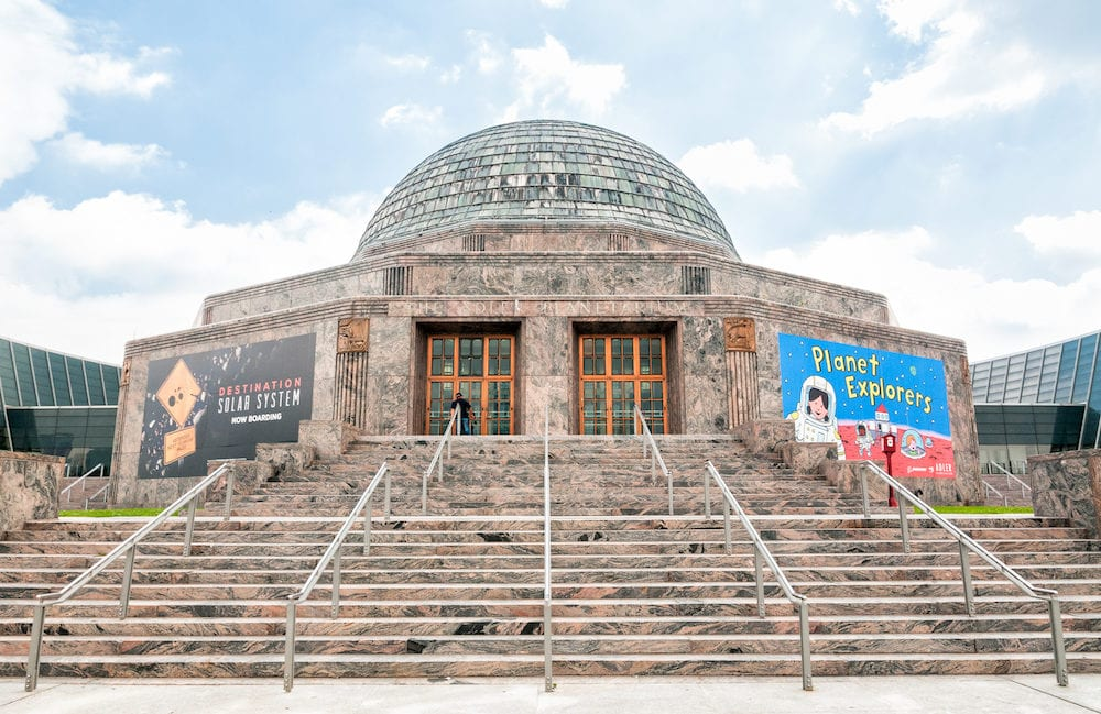 CHICAGO, UNITED STATES Adler Planetarium, is a public museum dedicated to the study of astronomy and astrophysics, It is located at the shore of Lake Michigan in Chicago.