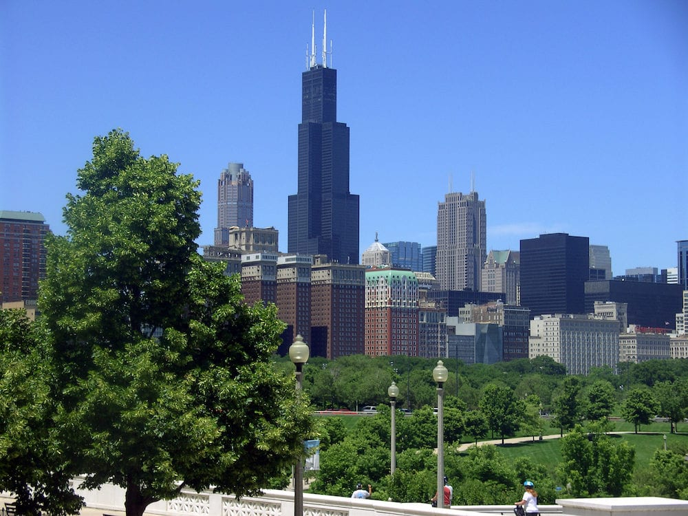 CHICAGO, ILLINOIS / UNITED STATES - A view of the Chicago skyline, including the Sears Tower (now called the Willis Tower).
