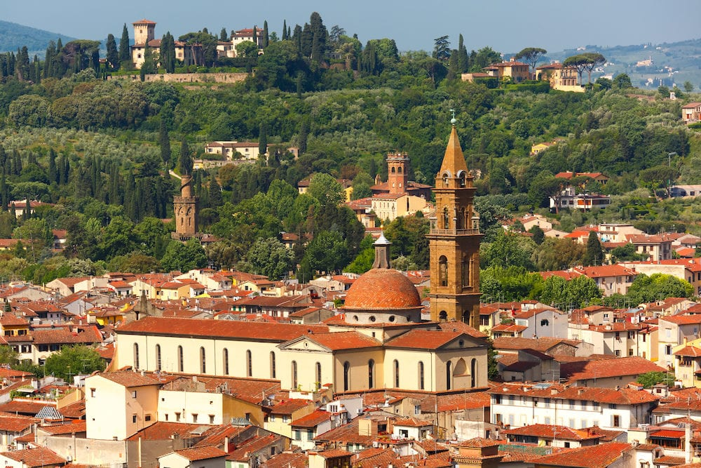 View of Oltrarno, Boboli Gardens, Santo Spirito and Belvedere at morning from Palazzo Vecchio in Florence, Tuscany, Italy
