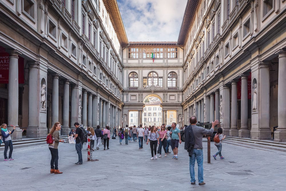 Florence, Italy - Narrow courtyard the Uffizi Gallery between palace's two wings