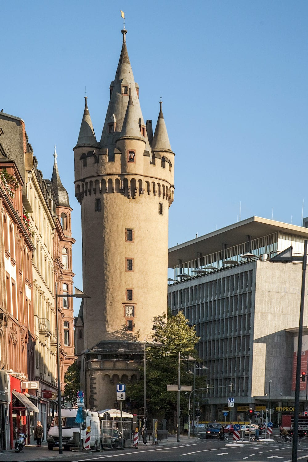 FRANKFURT GERMANY - : Eschersheimer turm in Frankfurt Germany. Eschenheimer Turm was a city gate part of the late-medieval fortifications of Frankfurt am Main and is a landmark of the city.
